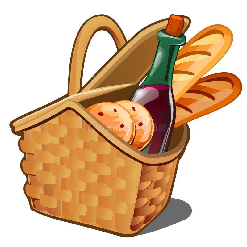Picknick rieten mand met voedingsmiddelen, havermeelkoekjes, fles wijn, vers die brood op witte achtergrond wordt geïsoleerd Vect vector illustratie