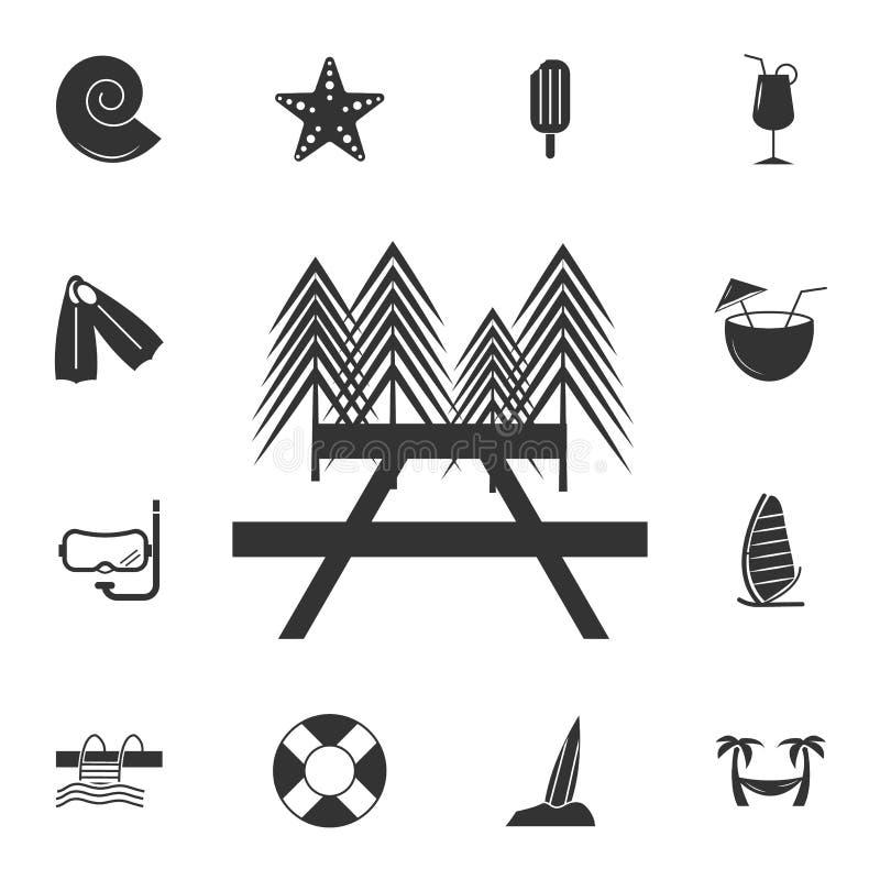 Picknick-/Ruhezoneikone Ausführlicher Satz Reiseikonen Erstklassiges Grafikdesign Eine der Sammlungsikonen für Website, Netz desi lizenzfreie abbildung