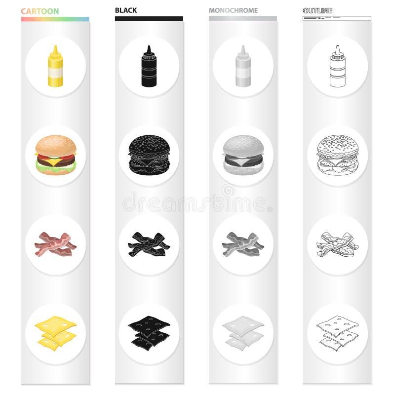 Picknick, Sandwich, Burger und andere Netzikone in der Karikaturart Flasche, Verpackung, Senfikonen in der Satzsammlung vektor abbildung