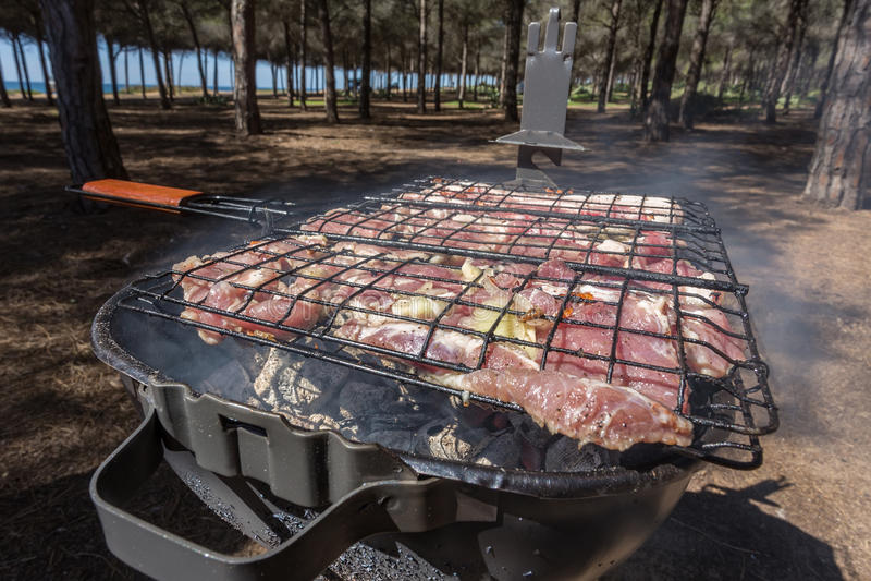 Picknick som lagar mat naturen av kött på galler arkivfoton