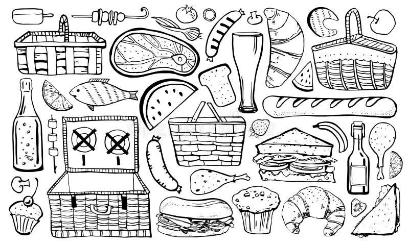 Picknick, sommar som ut  royaltyfri illustrationer