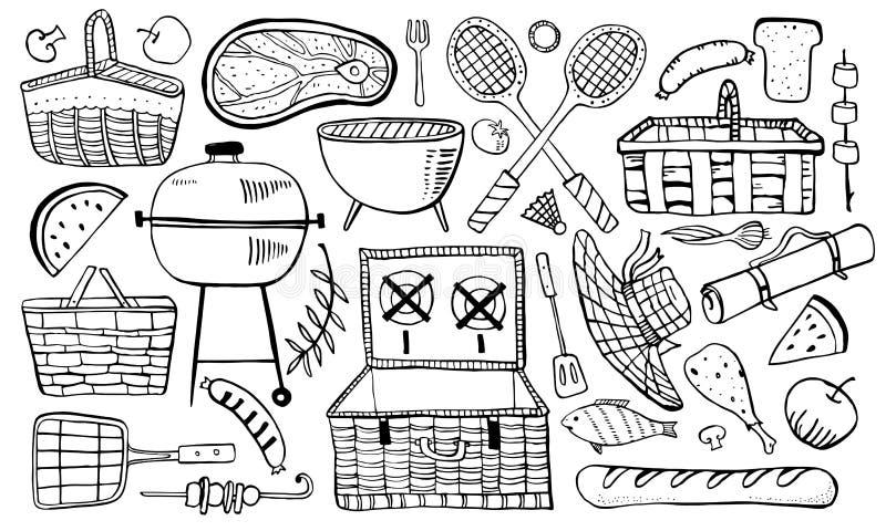 Picknick, sommar som ut äter, och grillfestobjektuppsättning Översiktsvektorn skissar illustrationen stock illustrationer