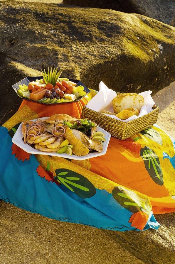 Picknick am Strand lizenzfreie stockfotografie