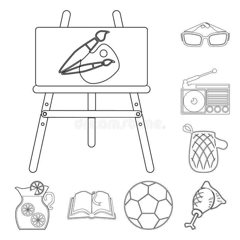 Picknick und Ausrüstung umreißen Ikonen in der Satzsammlung für Design Picknicken Sie im Naturvektorsymbol-Vorratnetz vektor abbildung