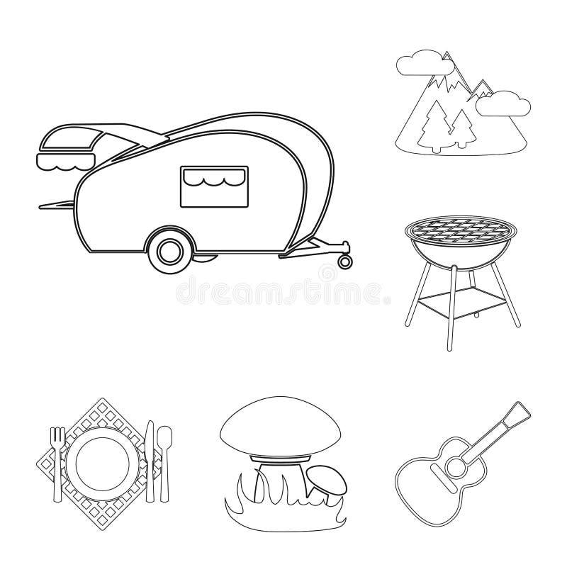 Picknick und Ausrüstung umreißen Ikonen in der Satzsammlung für Design Picknicken Sie im Naturvektorsymbol-Vorratnetz stock abbildung