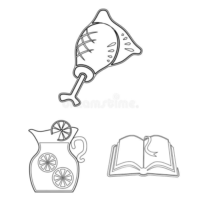 Picknick und Ausrüstung umreißen Ikonen in der Satzsammlung für Design Picknicken Sie im Naturvektorsymbol-Vorratnetz lizenzfreie abbildung