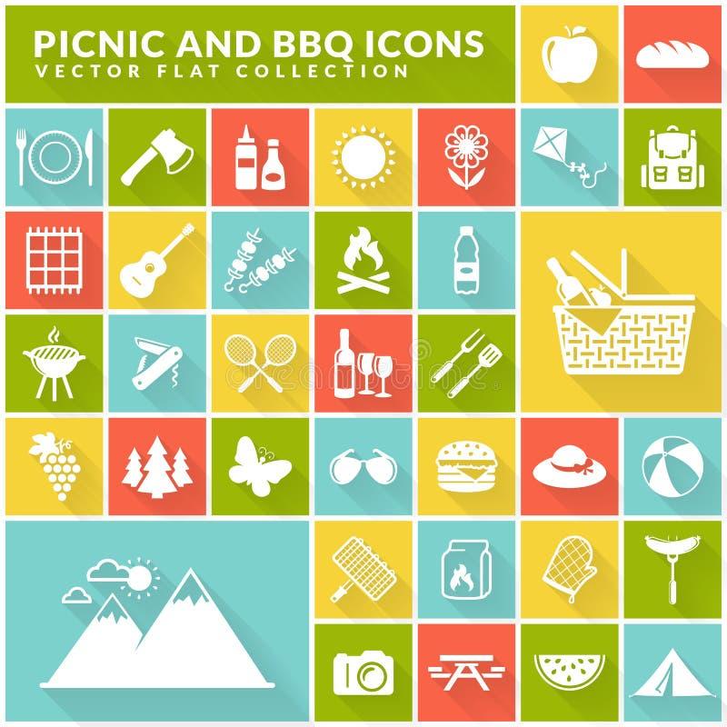 Picknick und flache Ikonen des Grills auf bunten quadratischen Knöpfen lizenzfreie abbildung