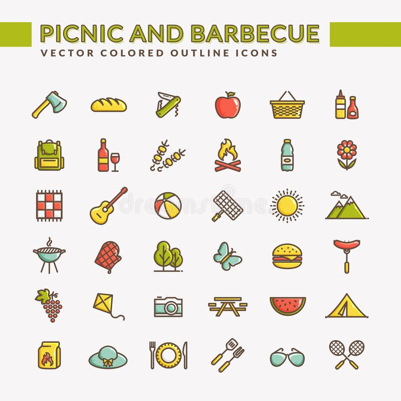 Picknick und Grill farbige Entwurfsikonen lizenzfreie abbildung