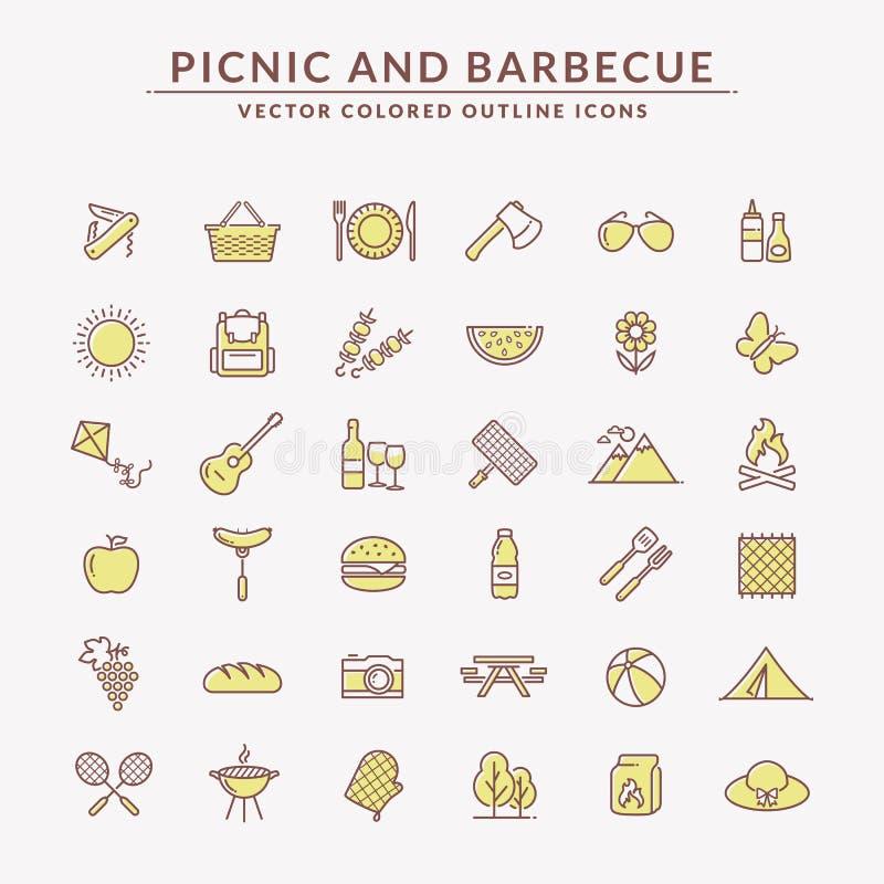 Picknick und Grill farbige Entwurfsikonen stock abbildung