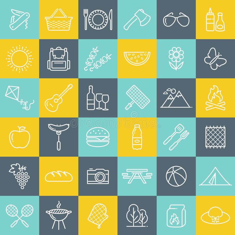 Picknick und Grill zeichnen Ikonen über bunten quadratischen Knöpfen lizenzfreie abbildung