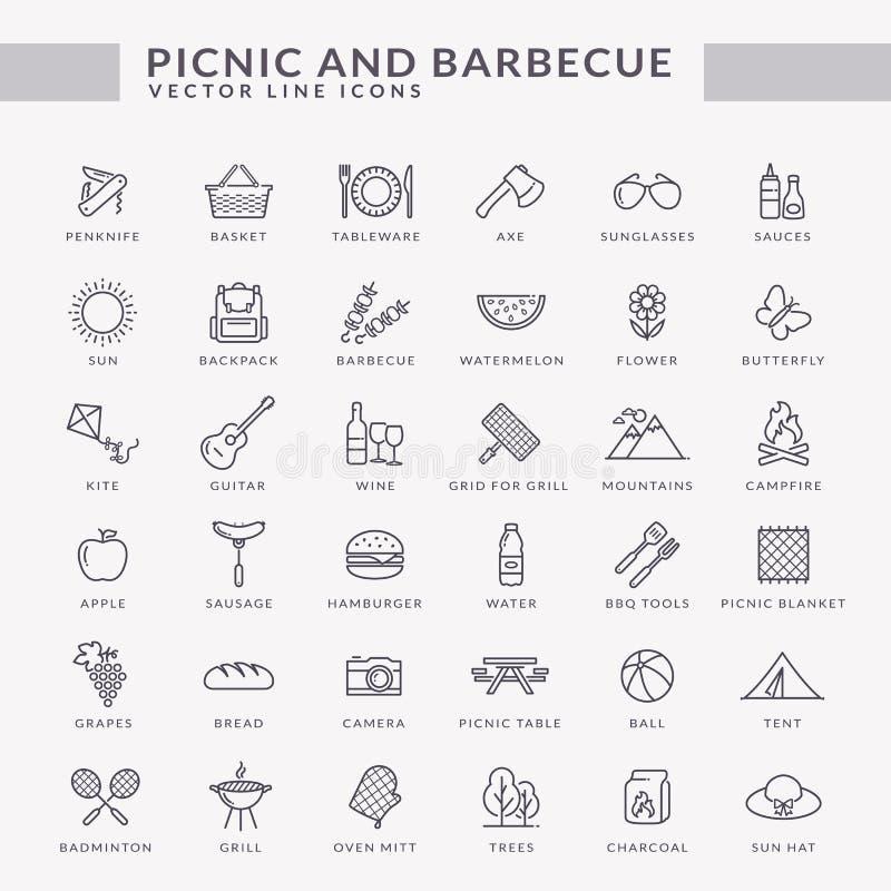 Picknick- und Grillentwurfsikonen lizenzfreie abbildung