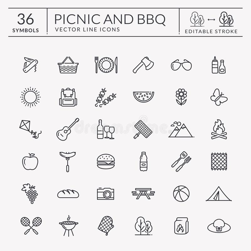 Picknick- und Grillentwurfsikonen Editable Anschlag lizenzfreie abbildung