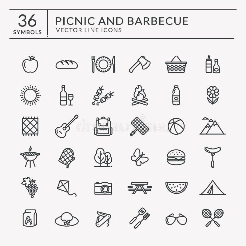 Picknick und Grilllinie Ikonen stock abbildung