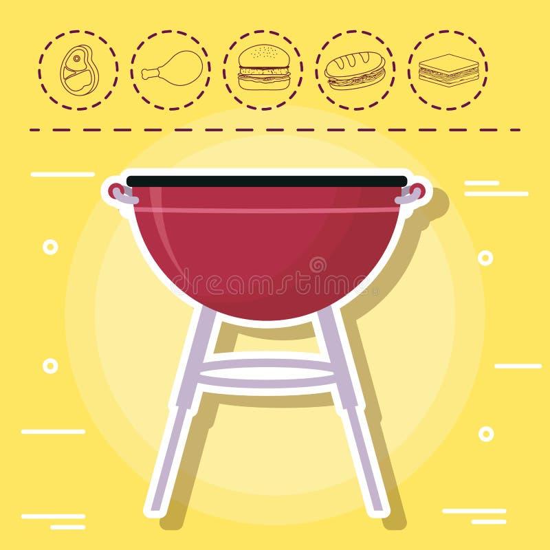 Picknick- und Lebensmitteldesign lizenzfreie abbildung