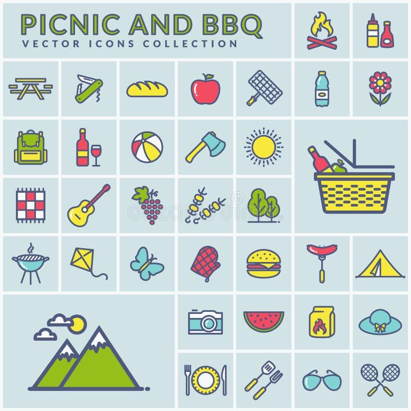 Picknick und moderne bunte Ikonen des Grills Vektor lizenzfreie abbildung