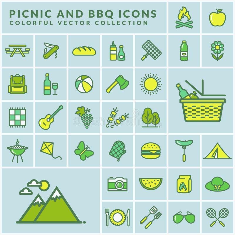 Picknick und moderne farbige Ikonen des Grills Vektor lizenzfreie abbildung