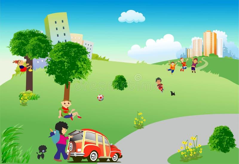 Picknick under staden vektor illustrationer