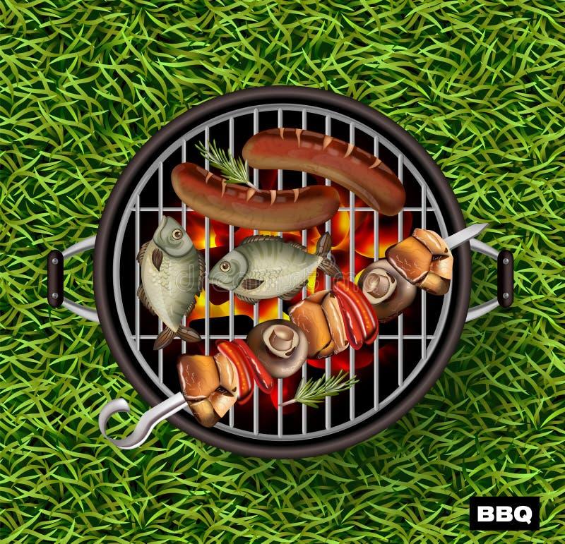 Picknickbbq realistische Vector De groene achtergrond van het grasgazon Vissen en worsten die op de grill koken royalty-vrije illustratie