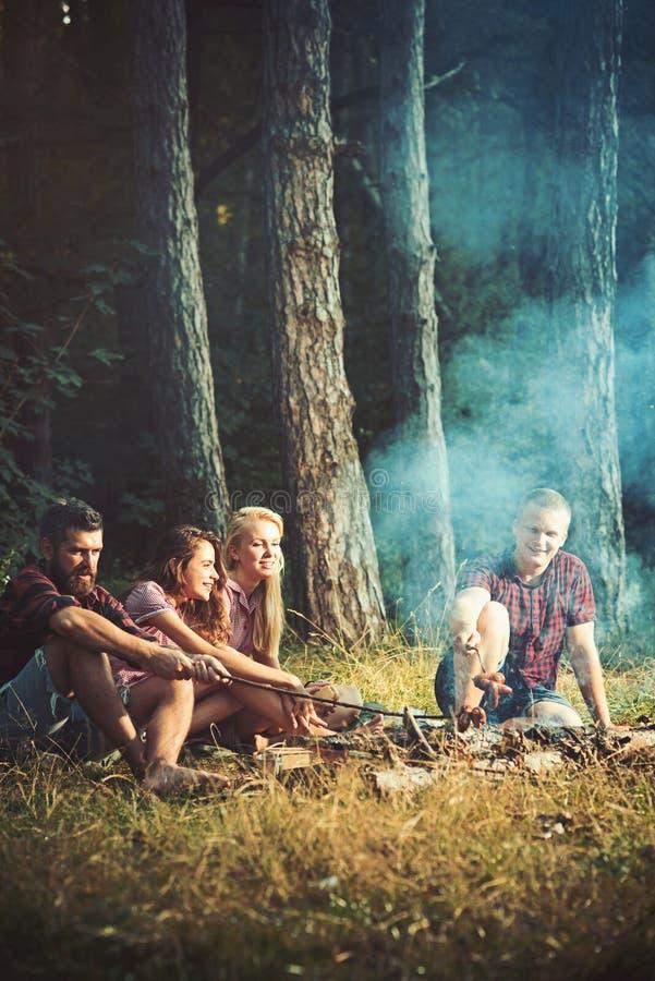 Picknicken i vårskogfotvandrare rostar korvar på lägereld som sitter på äng i skogen, lopp royaltyfria bilder
