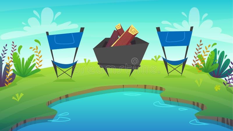 Picknickgrill bij park bosrust die bij meer of overzees kamperen wild toerismeweekend bij groene grasgebied en bomen, aardinstall stock illustratie