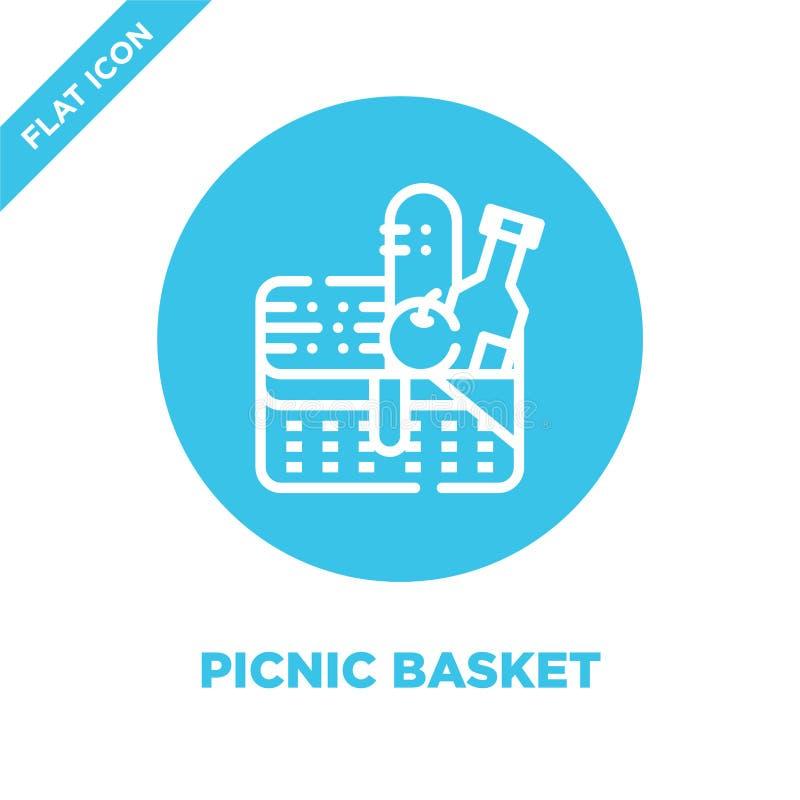 Picknickkorb-Ikonenvektor von kampierender Sammlung Dünne Linie Picknickkorbentwurfsikonen-Vektorillustration Lineares Symbol für stock abbildung