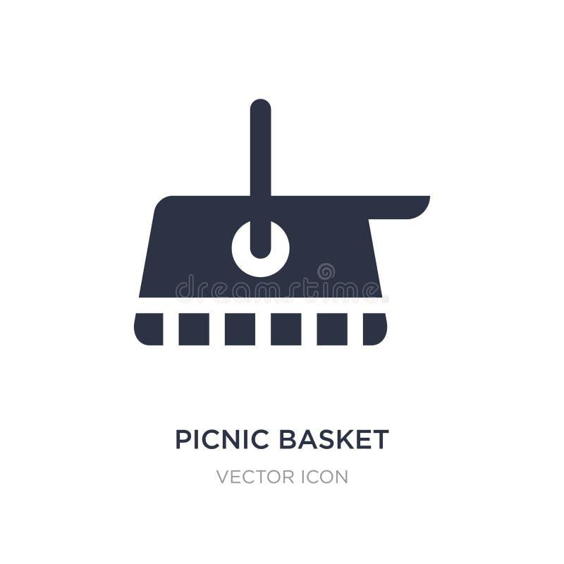 Picknickkorbikone auf weißem Hintergrund Einfache Elementillustration vom Herbstkonzept vektor abbildung