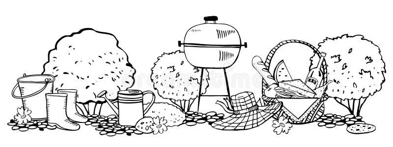 Picknickkorg med mat som arbeta i trädgården hjälpmedel, hatten, gallret och buskar ?versiktsvektorn skissar illustrationen stock illustrationer