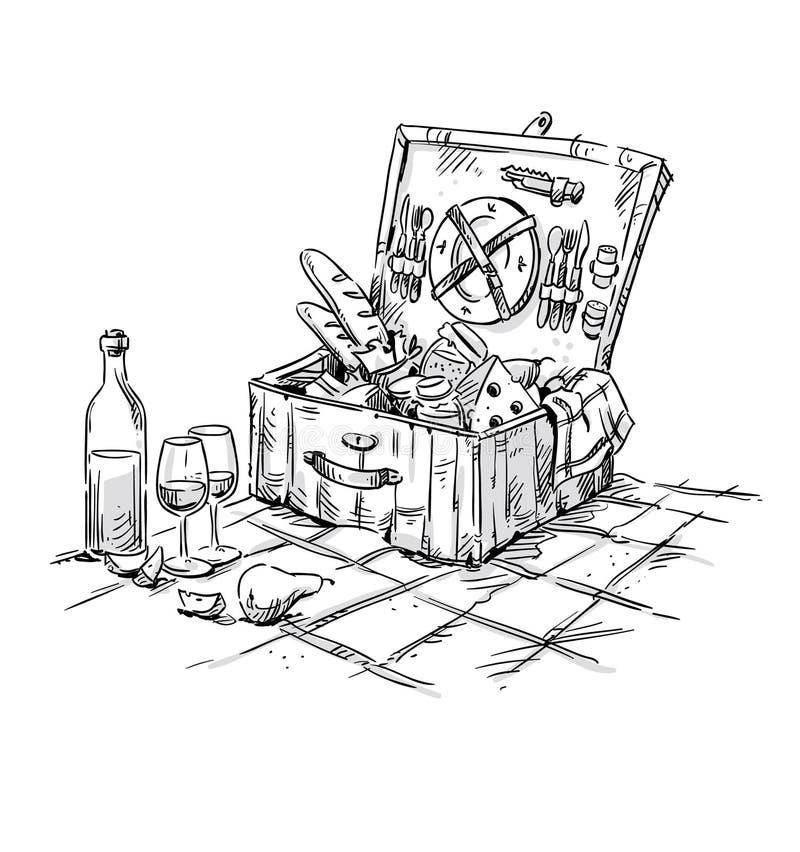 Picknickmand, lunch op het gras stock illustratie