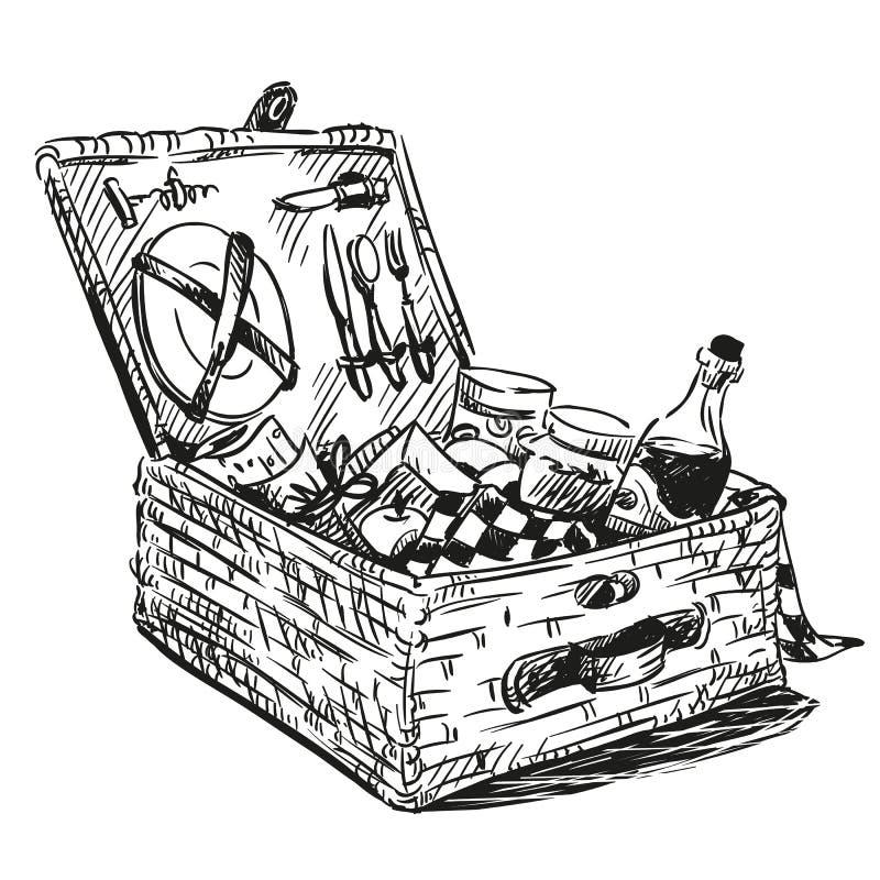 Picknickmand met snack vector illustratie