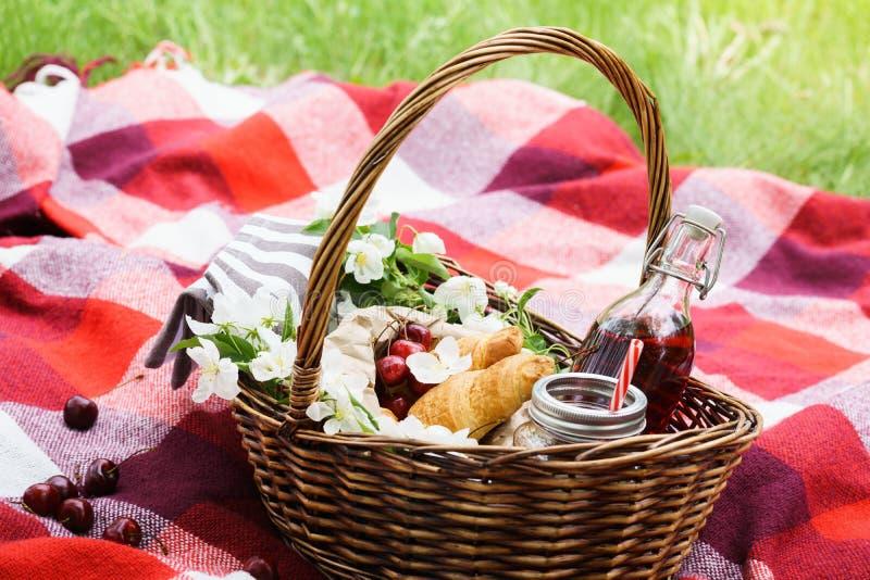 Picknickmand met voedsel en bloemen op rode deken royalty-vrije stock afbeelding