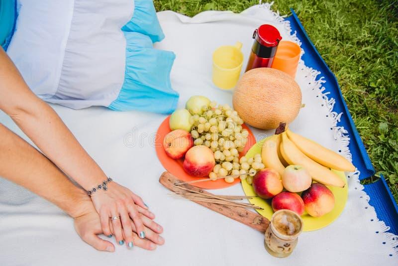 Picknickmand met voedsel, vruchten en fles wijn Jong paar die druiven eten en in picknick genieten van Liefde en tederheid, dater stock afbeeldingen