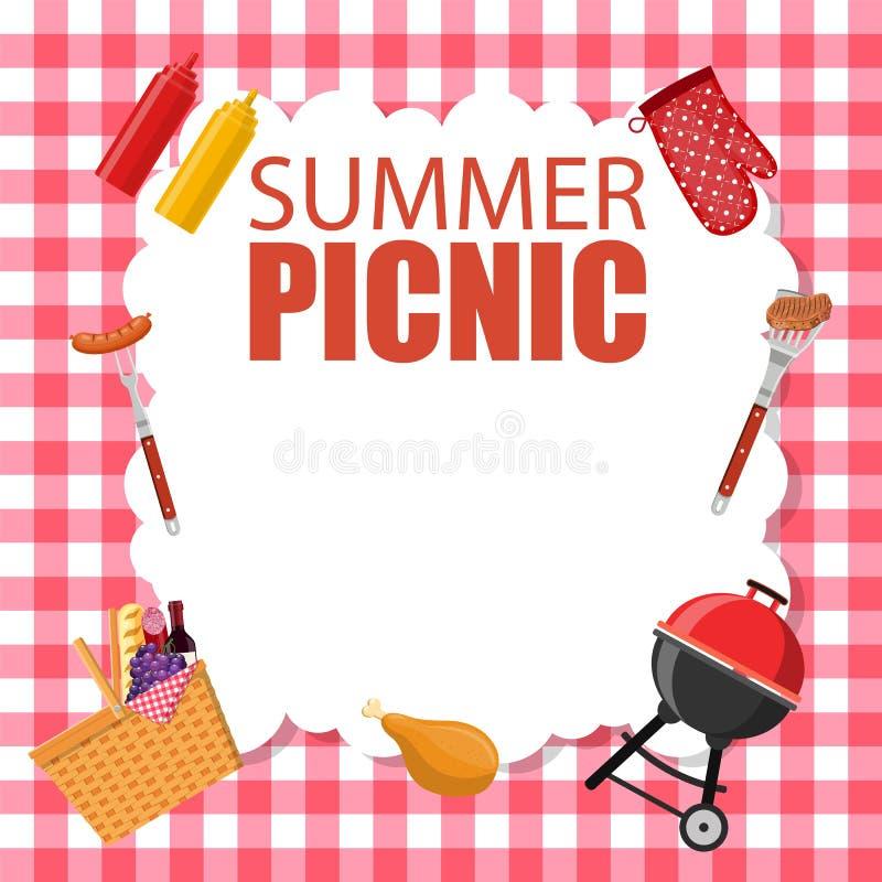 Picknickpartei-Einladungskarte stock abbildung
