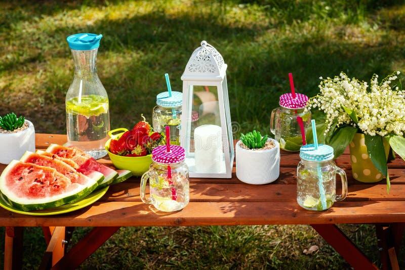 Picknicktabellen med frukt och lemonad i en sommar parkerar royaltyfri fotografi