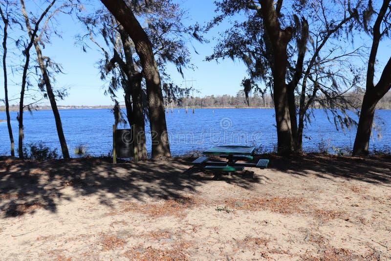 Picknicktabellen och trashcan vid vattnet parkerar offentligt royaltyfria bilder