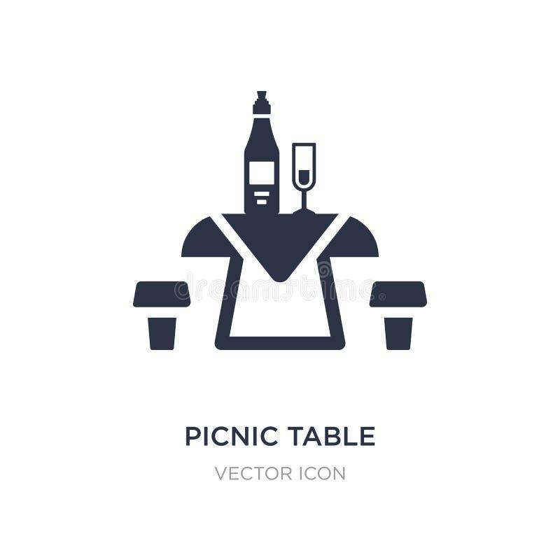 Picknicktischikone auf weißem Hintergrund Einfache Elementillustration vom Getränkkonzept lizenzfreie abbildung