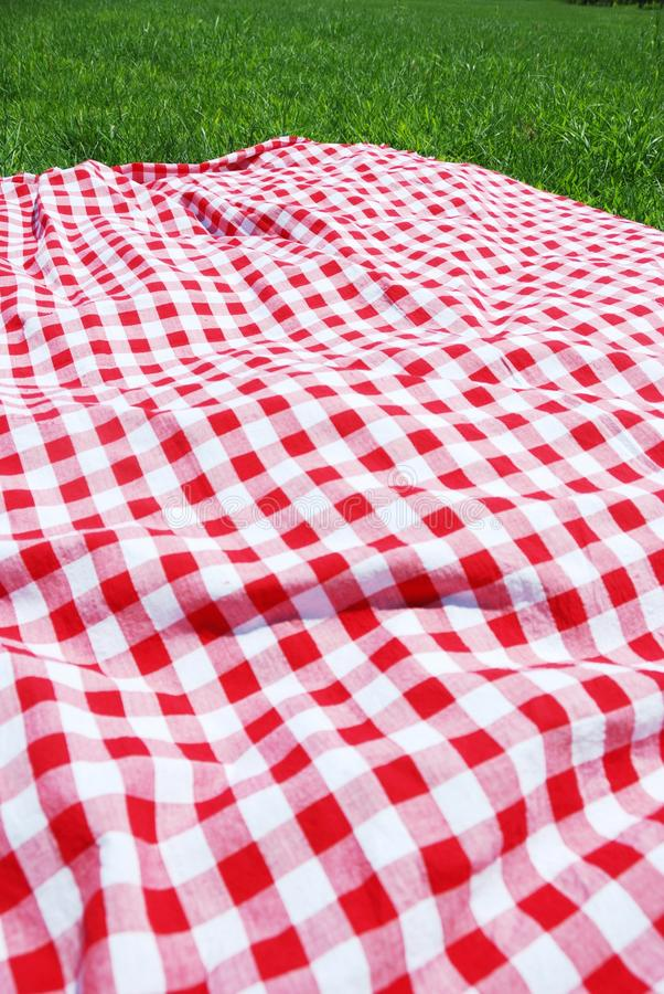 Picknicktuch auf Wiese. stockbilder