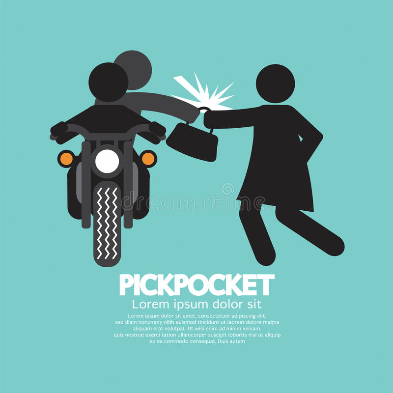 Pickpocket On Motorcycle With la victime illustration stock