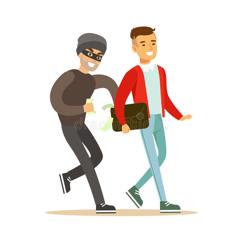 Pickpocket trying to steal money from smiling man . Colorful cartoon character vector Illustration royalty free illustration