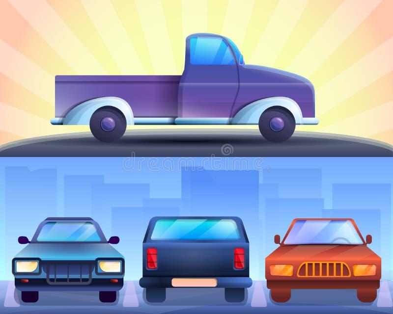 Pickup banner set, cartoon style royalty free illustration