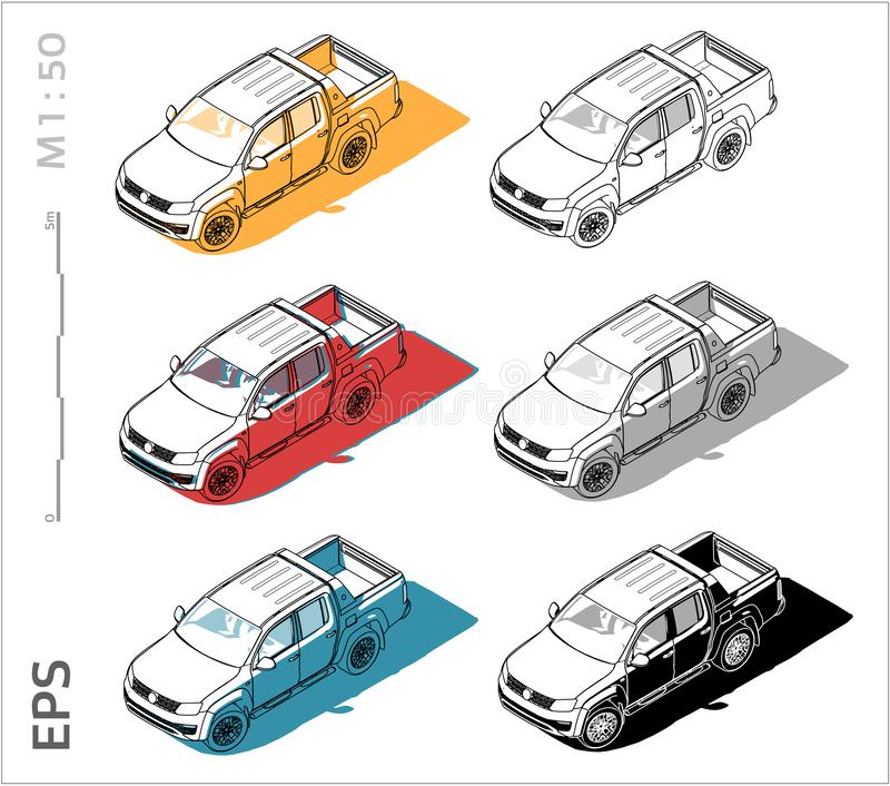 Pickup cuv car vector icons set for architectural drawing and illustration vector illustration