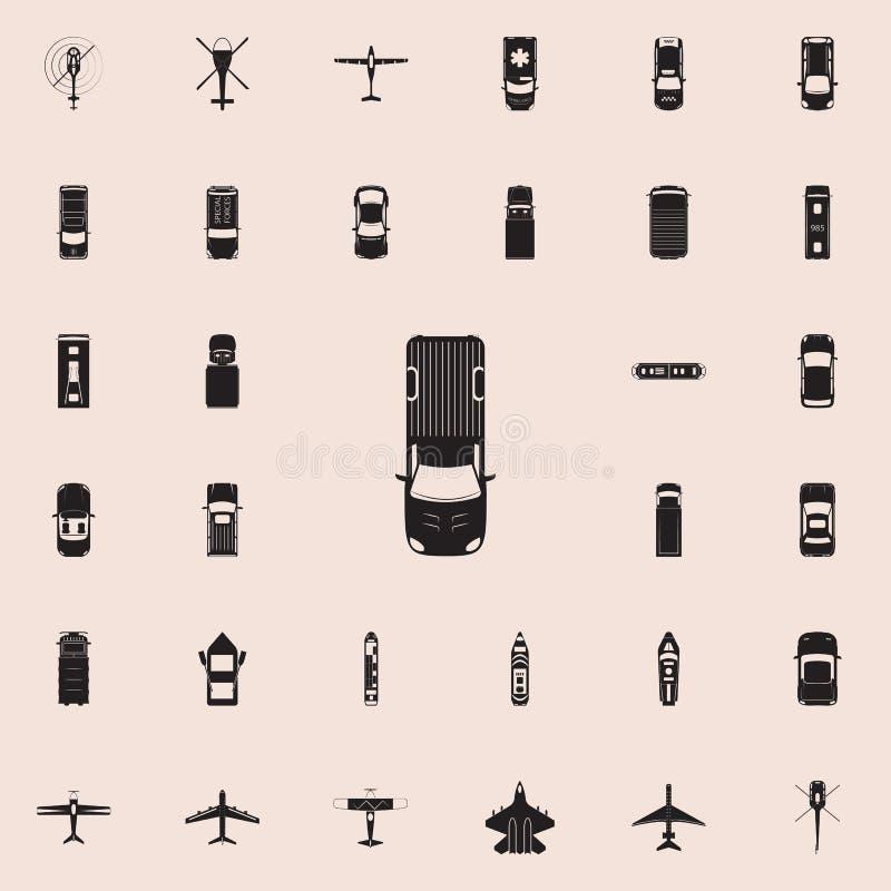 Pickup ikona Przewieziony widok od above ikony ogólnoludzkiego ustawiającego dla sieci i wiszącej ozdoby royalty ilustracja