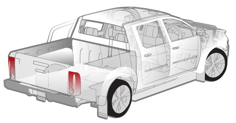 Pickup infographics cutaway stock photography