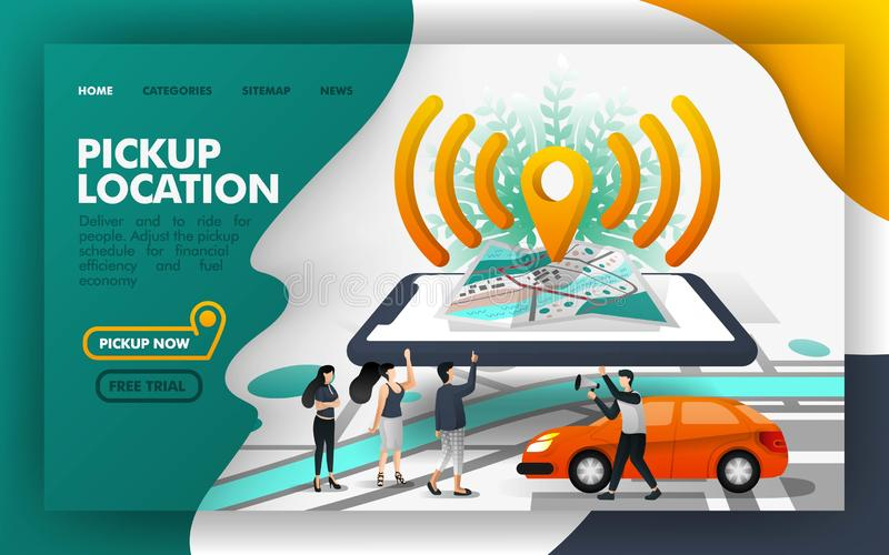 Pickup lokacji szpilki wifi isometric Wektorowy Ilustracyjny pojęcie, Dzieli przejażdżkę z innymi ludźmi Łatwy używać dla strony  ilustracja wektor