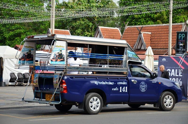 Pickup samochodowi pojazdy w mieście Pattaya fotografia royalty free