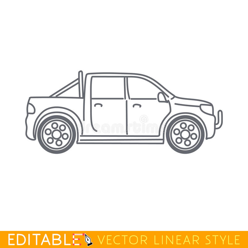 Pickup truck. Editable vector icon in linear style stock illustration