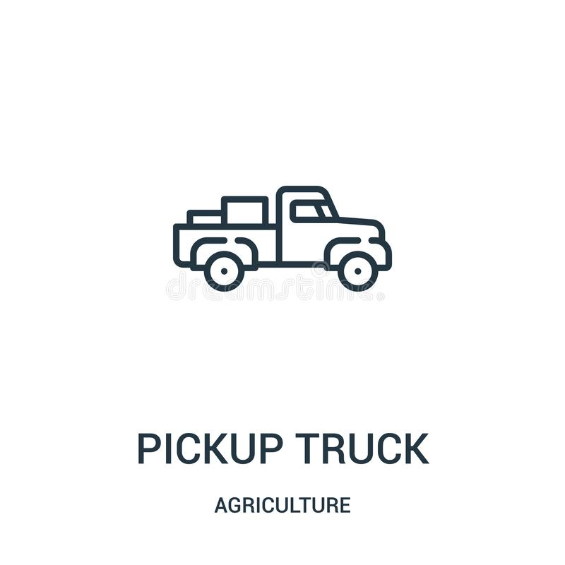 pickup truck icon vector from agriculture collection. Thin line pickup truck outline icon vector illustration. Linear symbol for vector illustration