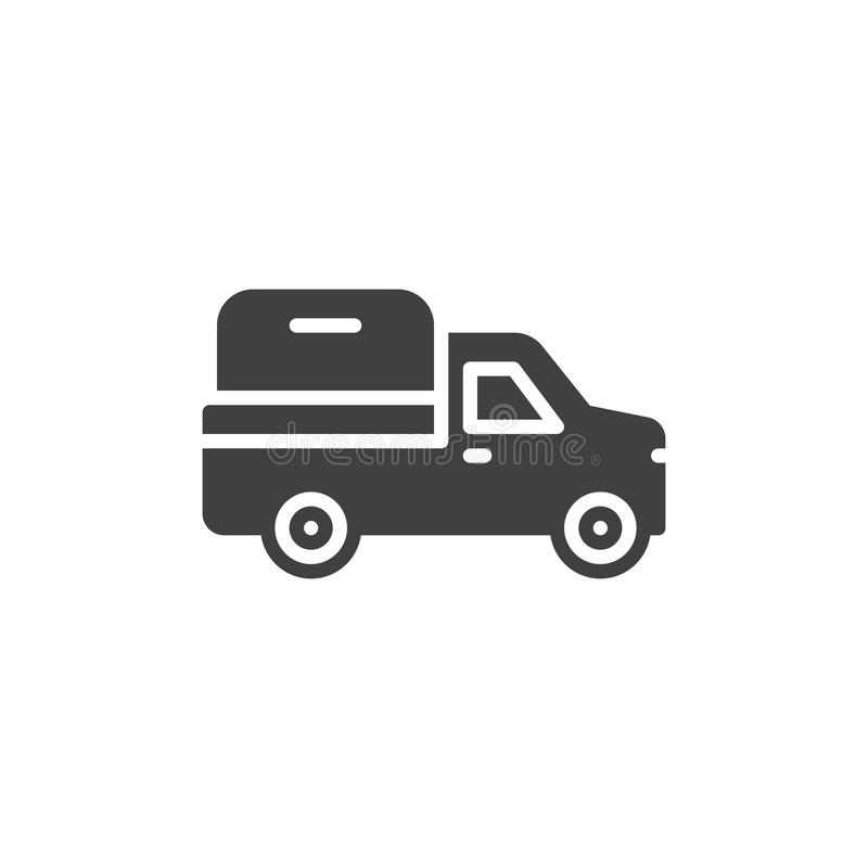 Pickup truck icon vector, filled flat sign, solid pictogram isolated on white. Symbol, logo illustration. Pixel perfect royalty free illustration