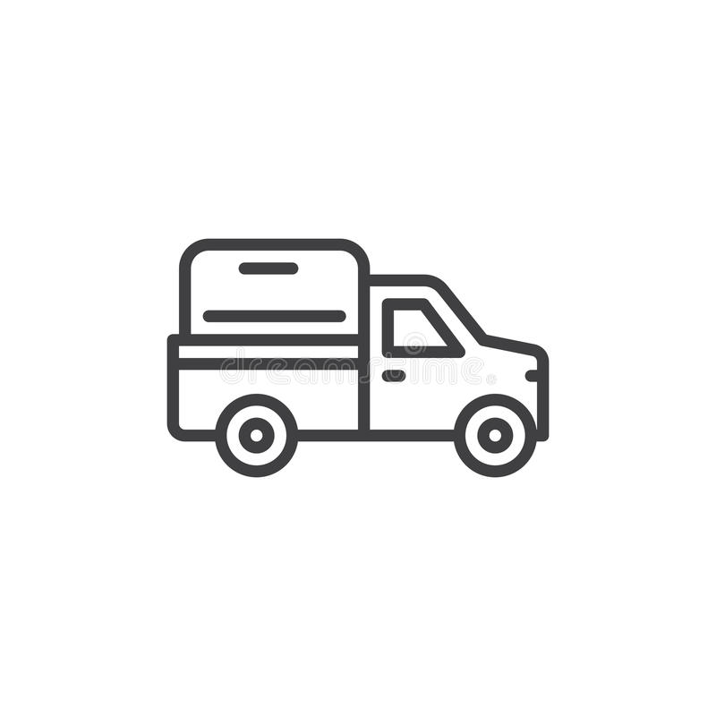 Pickup truck line icon, outline vector sign, linear style pictogram isolated on white. Symbol, logo illustration. Editable stroke. Pixel perfect stock illustration