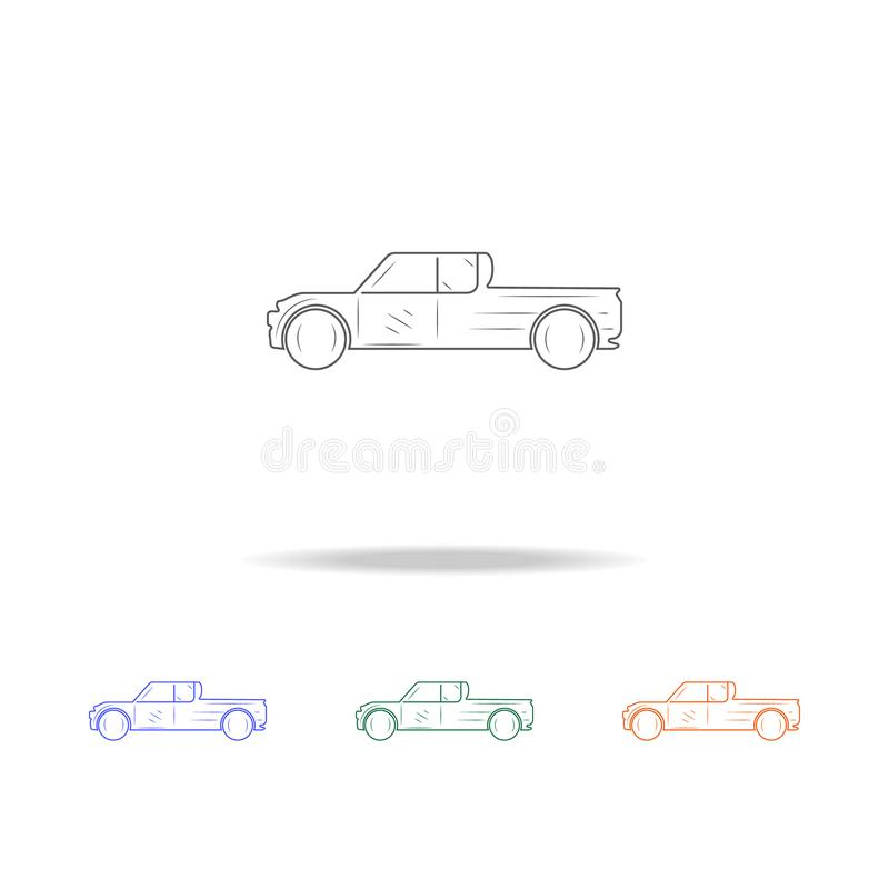 Pickup truck line icon. Types of cars Elements in multi colored icons for mobile concept and web apps. Thin line icon for website royalty free illustration