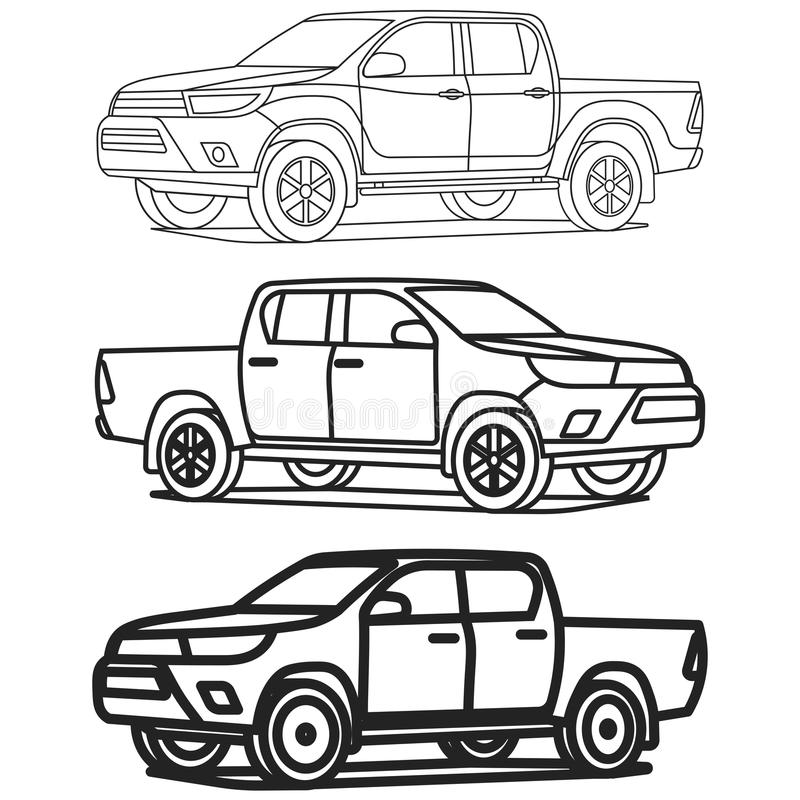 Pickup truck outline set on white background drawing vector illustration royalty free illustration